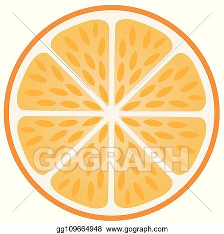 Vector Illustration - Orange slice with peel  EPS Clipart