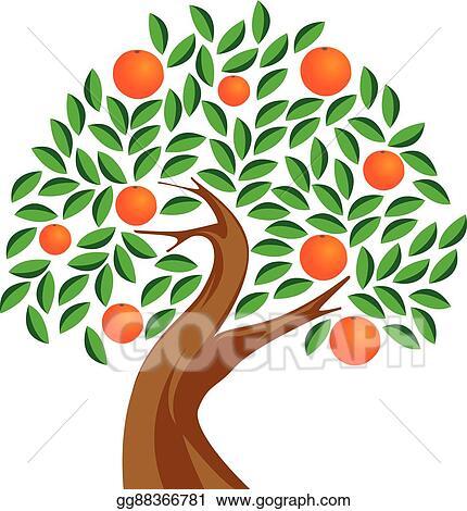 Vector Art - Orange tree. Clipart Drawing gg88366781 - GoGraph