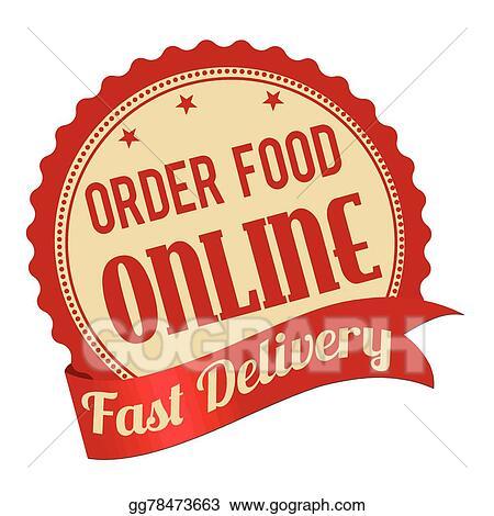 Vector Art Order Food Online Promotional Label Sticker Or Stamp