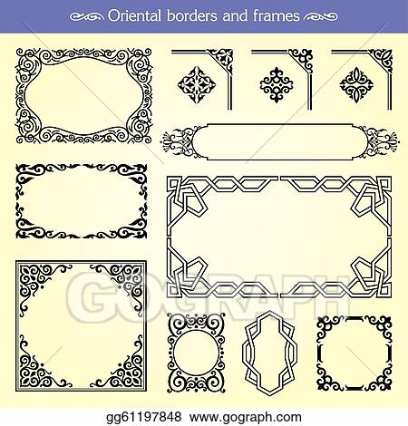 Vector Clipart - Oriental asian borders and frames. Vector ...