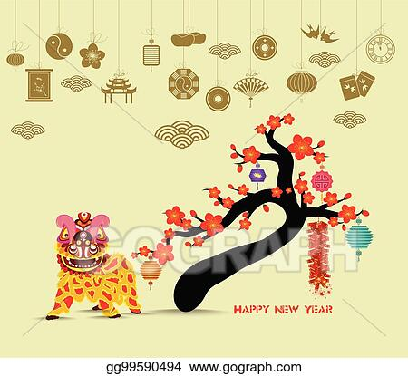 a1e2bab91 Oriental Happy Chinese New Year 2018 blossom. Lion dance chinese baclground