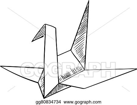 Origami Crane Paper Bird Sketch Icon
