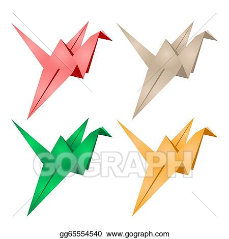 Vector Illustration Origami Crane Eps Clipart Gg65554540 Gograph