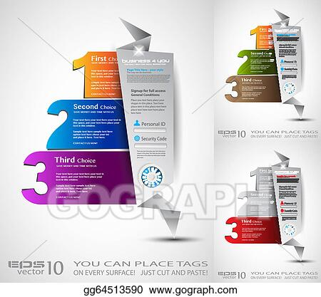 Vector Art Origami Option Menu With 3 Choices Ideal For Web