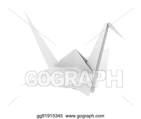Stock Illustration Origami Paper Crane Clipart Drawing Gg91915345