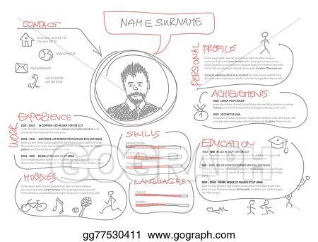 eps vector original cv resume template stock clipart