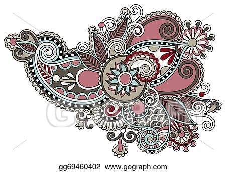 Traditional Flower Line Drawing : Eps illustration original digital draw line art ornate flower