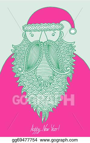 original hipster santa claus modern graphic style merry christmas happy new year