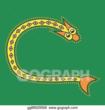 ornamental initial letter c as snake