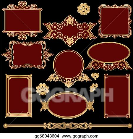 Ornate Vintage Victorian Frame Set Vector