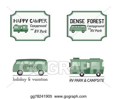 Outdoor Activity Travel Logo Vintage Labels Design Template RV Forest Holiday Park Caravan