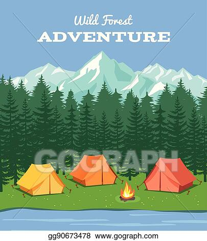 Outdoor Camping Nature Background With River And Forest Mountains Camp Tent Vector Illustration