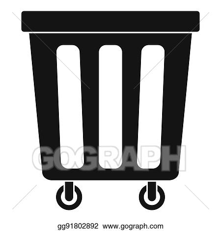 drawing outdoor plastic trash can icon simple style clipart