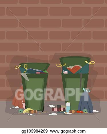 Vector Art Outdoor Trash Cans Full Of Garbage Cartoon Clipart