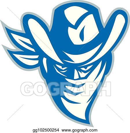 e9b22076727 Vector Illustration - Outlaw-bandana-cowboy-hat-front-retro. Stock ...