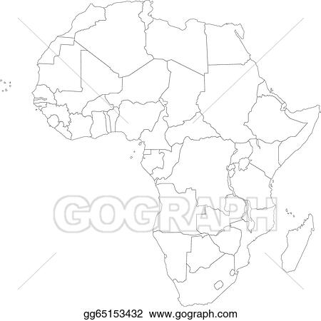Outline Of Africa Map.Clip Art Vector Outline Africa Map Stock Eps Gg65153432 Gograph