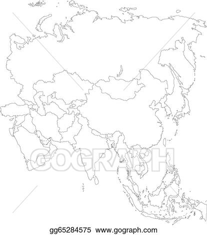 EPS Vector - Outline asia map. Stock Clipart Illustration ...