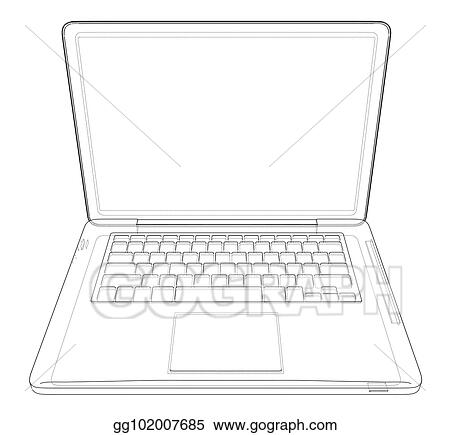 Vector Stock - Outline drawing laptop  vector illustration  Clipart