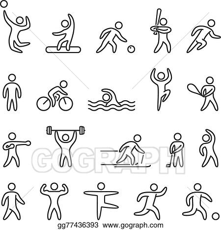 Vector Art - Outline figure athletes, different sports  Clipart