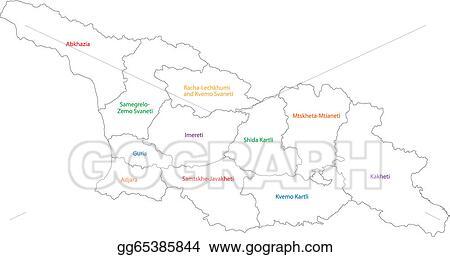 Outline Of Georgia Map.Clip Art Vector Outline Georgia Map Stock Eps Gg65385844 Gograph