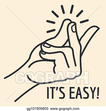 Vector art outline hand with snapping finger gesture living easy outline hand with snapping finger gesture living easy concept vector background voltagebd Image collections