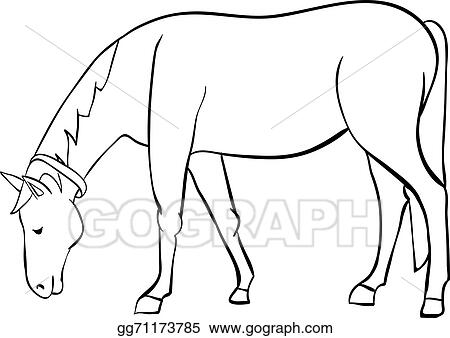 Horse outline. Vector art clipart drawing