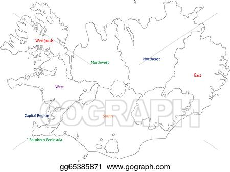EPS Vector - Outline iceland map. Stock Clipart Illustration ...