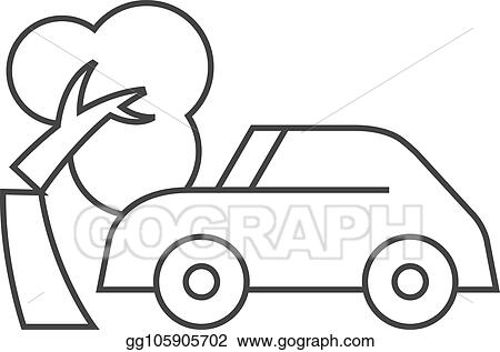 Vector Art Outline Icon Car Crash Clipart Drawing Gg105905702