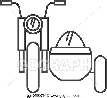 Vector Illustration Outline Icon Military Motorcycle Eps