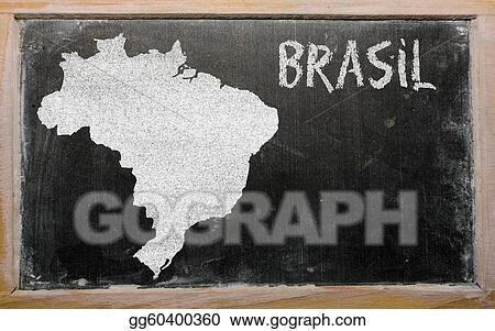 Stock Illustration Outline Map Of Brazil On Blackboard Clip Art