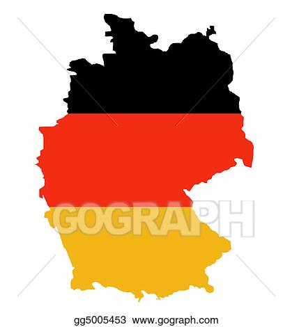 Drawing Outline Map Of Federal Republic Of Germany Clipart - Germany map clipart