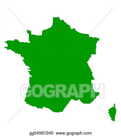 Drawing Outline Map Of France In Green Clipart Drawing Gg54567240