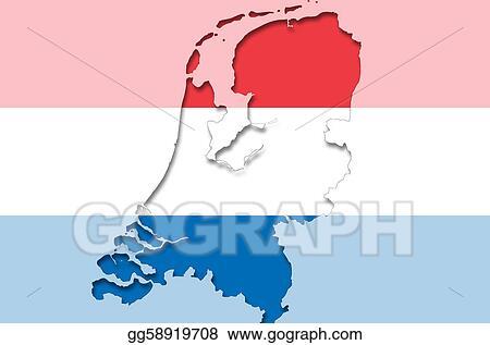 Clip Art Outline map of netherlands with transparent dutch flag
