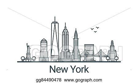 Vector Art Outline New York Banner Eps Clipart Gg84490478 Gograph