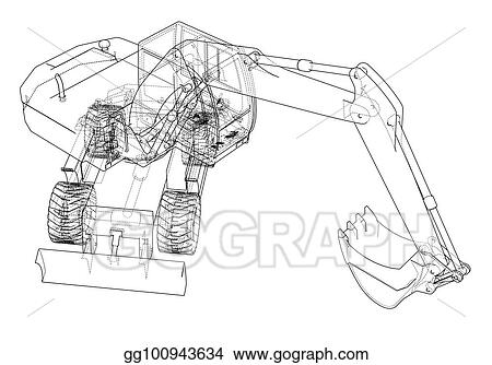 Outline Of Excavator Isolated On White Background