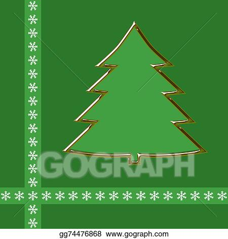 Christmas Tree Clipart Outline.Clipart Outline Of Golden Christmas Tree On Green Stock