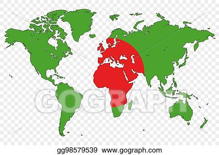 Clipart Outline Of The World With The Flag Of Bangladesh Stock