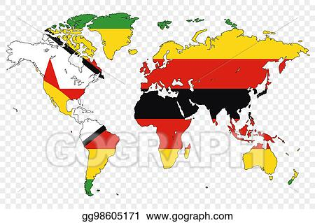 Stock Illustration - Outline of the world with the flag of zimbabwe ...