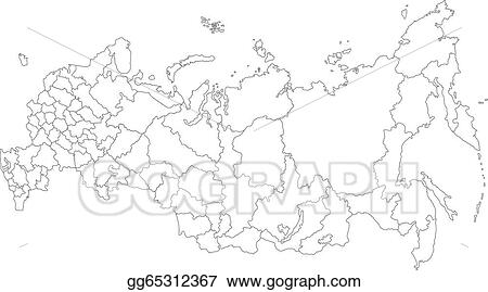 Vector Clipart Outline russia map Vector Illustration