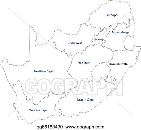 EPS Vector - Outline south africa map. Stock Clipart Illustration ...