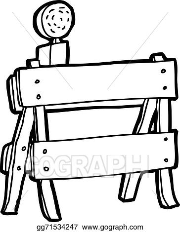 vector illustration outlined construction barrier stock clip art rh gograph com