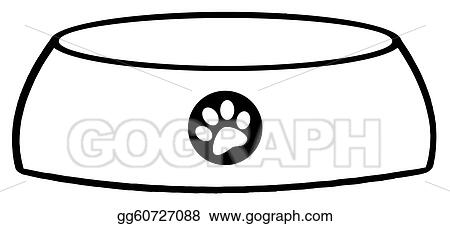 vector art outlined empty dog bowl clipart drawing gg60727088 rh gograph com dog bowl clip art black and white dog food bowl clipart