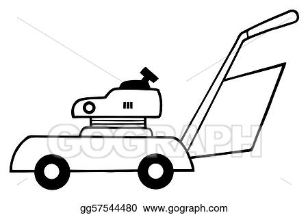 Eps illustration outlined lawn mower vector clipart for Lawn mower coloring page