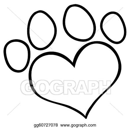 Vector Art Outlined Love Paw Print Clipart Drawing Gg60727078