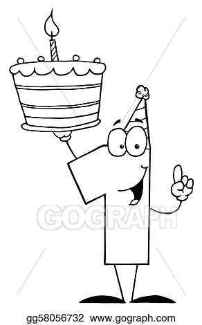 Vector Art Outlined Number One Clipart Drawing Gg58056732 Gograph