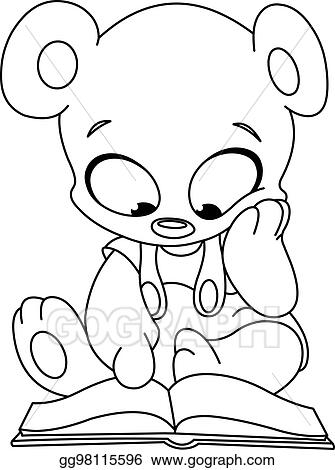vector illustration outlined teddy bear reading book stock clip
