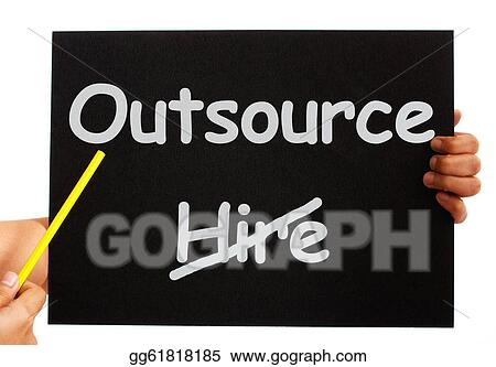 Stock Illustration - Outsource note showing subcontracting and
