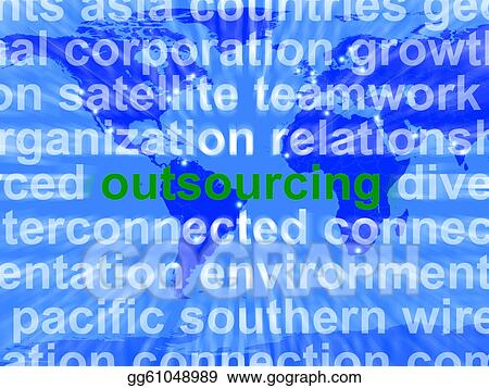 Drawings - Outsourcing word meaning subcontracting offshoring or