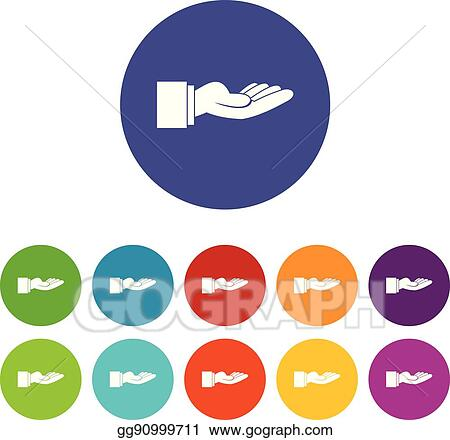 Vector Clipart Outstretched Hand Gesture Set Icons Vector