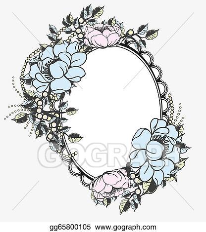 Vector Illustration Oval Floral Frame Template Eps Clipart